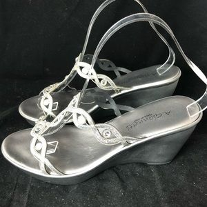 A. Gianetti Grey/Silver Embellished Wedges (9)